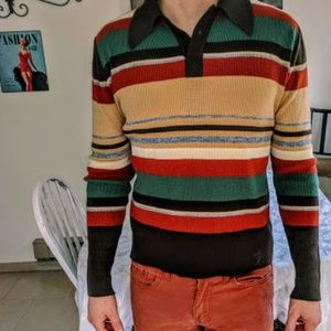 Other - 1960's Vintage Striped long sleeve polo Shirt